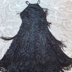 ASOS Lace & Fringe Fit & Flare Dress